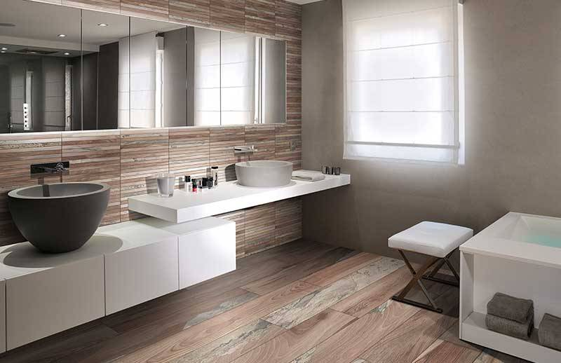 Go for wood-effect ceramics in the bathroom!