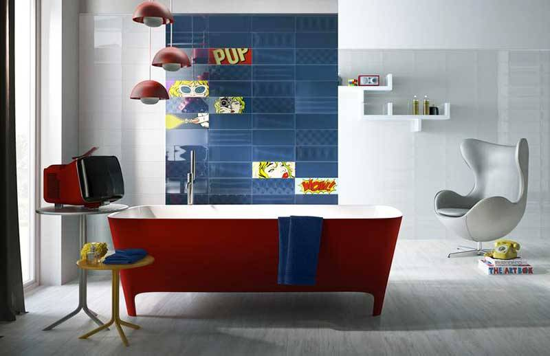 for a daring decor, choose a coloured bath!