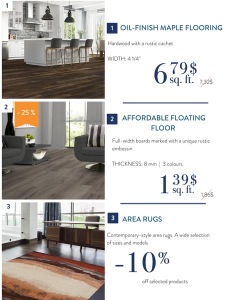Hardwood, floating floor and area rugs