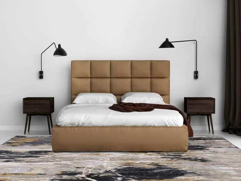 Carpette lignée avec un décor épuré et meuble en bois