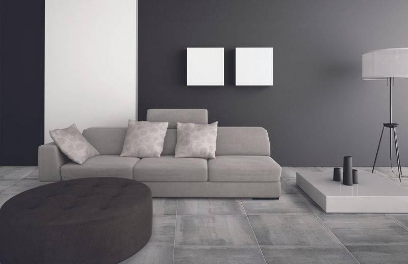 Décoration de salon avec un style effet béton
