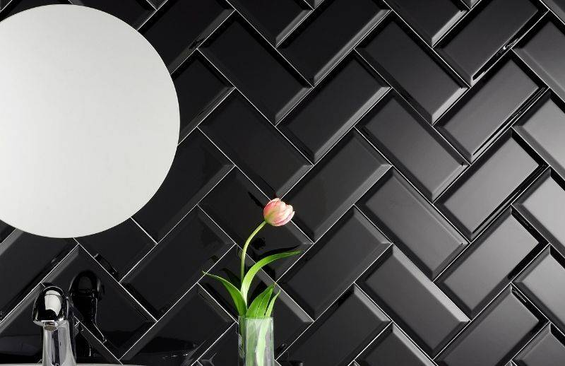 Our black glossy ceramic backsplash