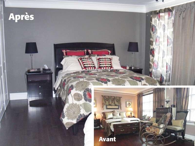 Chambre des maitres avant et après