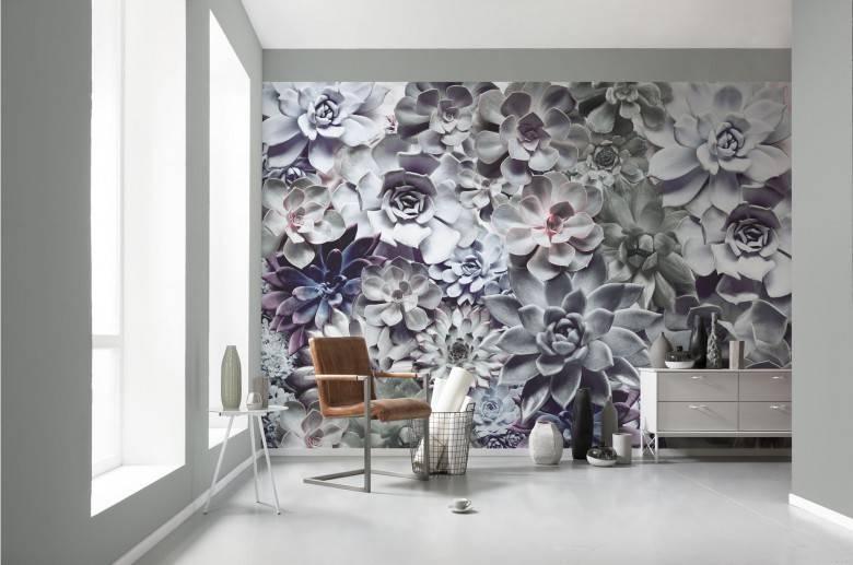 La murale de papier peint aux succulents relaxants