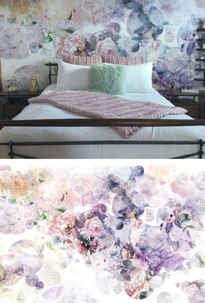 La murale de tapisserie pastelle de fleurs et textures dynamiques
