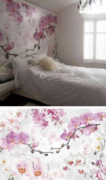La murale de papier peint d'orchidées modernes