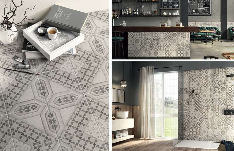 Patchwork patterned ceramic tiles