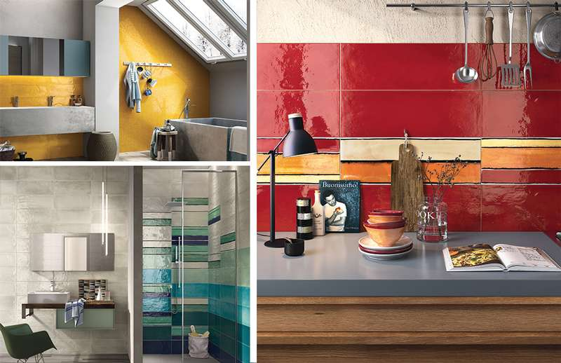 Glossy coloured ceramic tiles