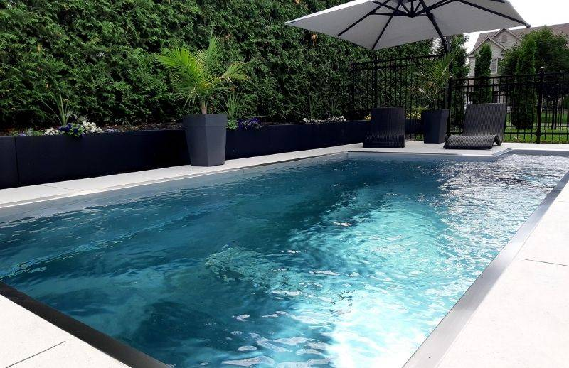 Stainless steel pool in the backyard