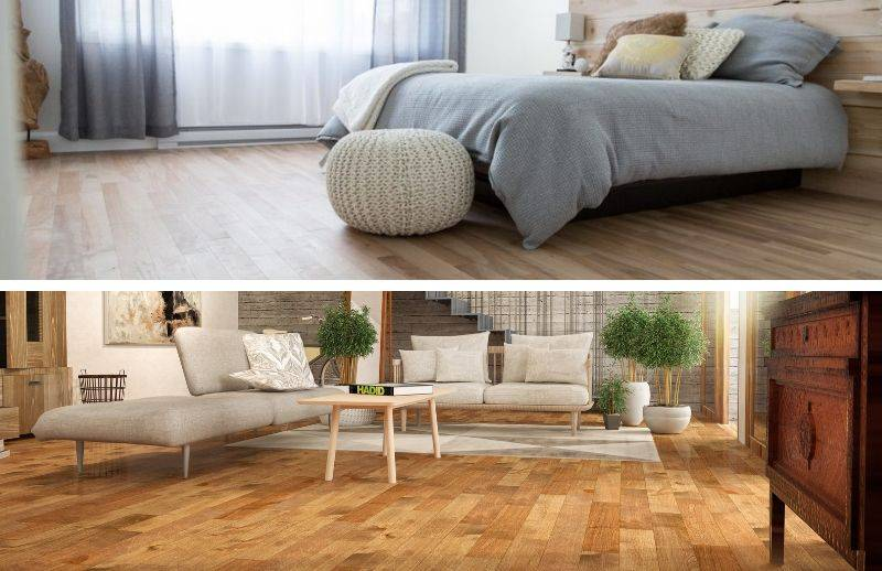 Bedroom and living room of different styles with hardwood flooring