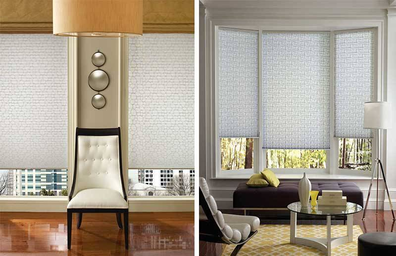Tone-in-tone patterned blinds are popular in Quebec