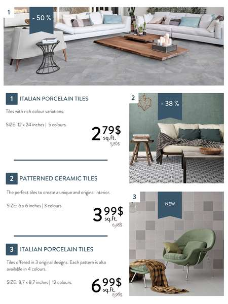 Discounts on ceramic and porcelain tiles