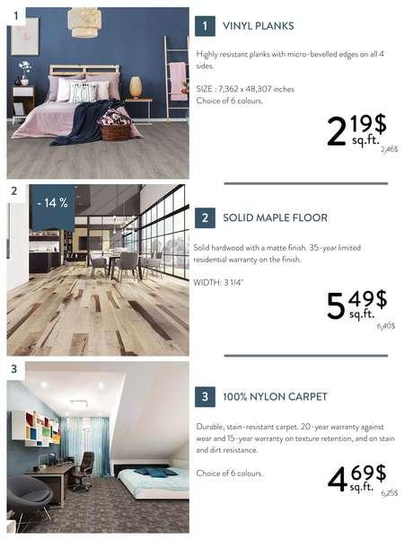 Discounts on vinyl plank, hardwood floors and carpets