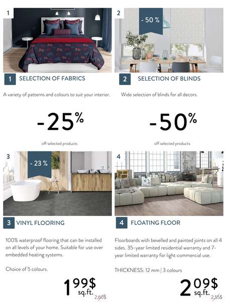 Discounts on floating and vinyl flooring, decoration