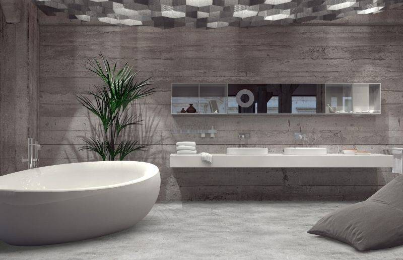 A bathroom with our concrete effect vinyle