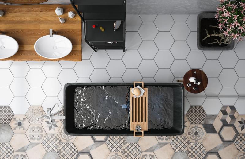 Plancher de céramique avec 2 types de mosaïque