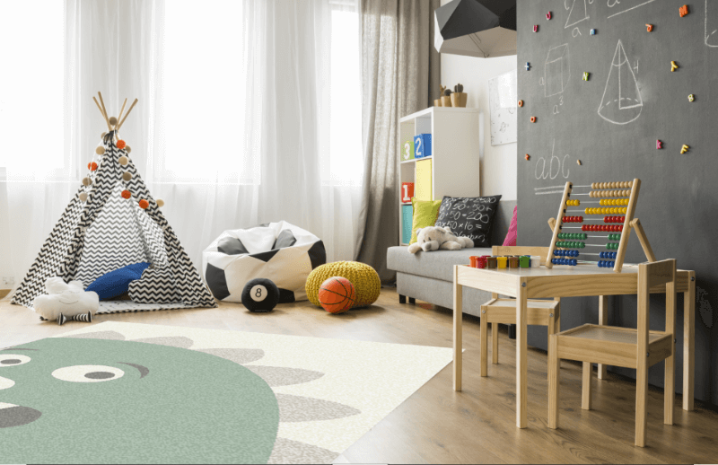 Area rug in a playroom