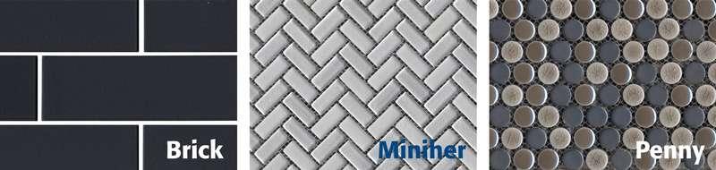 Mosaïque Miniher, mosaïque Brick et mosaïque Penny