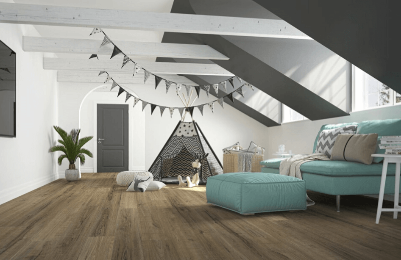 Vinyl planks in a children's playroom with teepee and decorative sofa